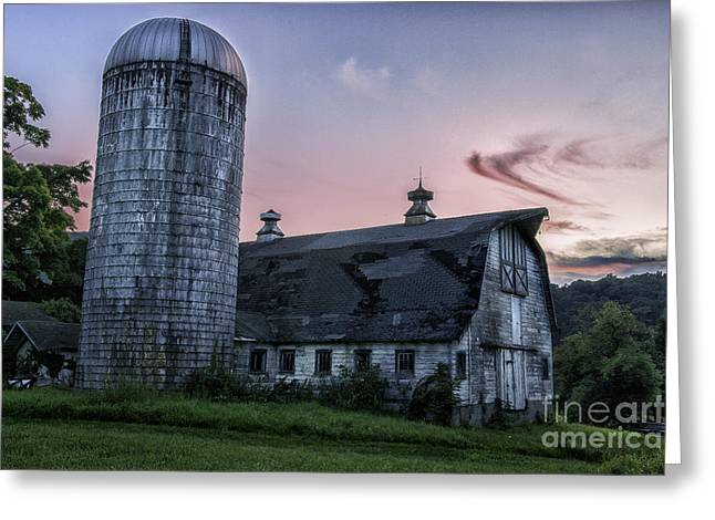 New England Village Greeting Cards - Connecticuts Verdant Litchfield Hills-Classic Rustic Barn Scenic Greeting Card by Thomas Schoeller