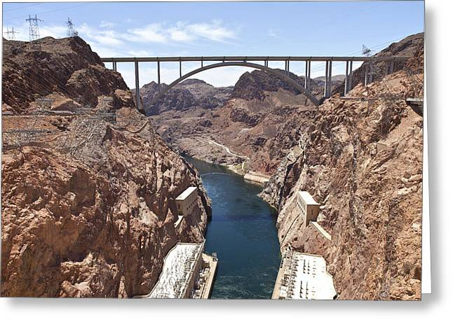 Power Plants Greeting Cards - Connecting two states Hoover Dam bridge. Greeting Card by Gino Rigucci