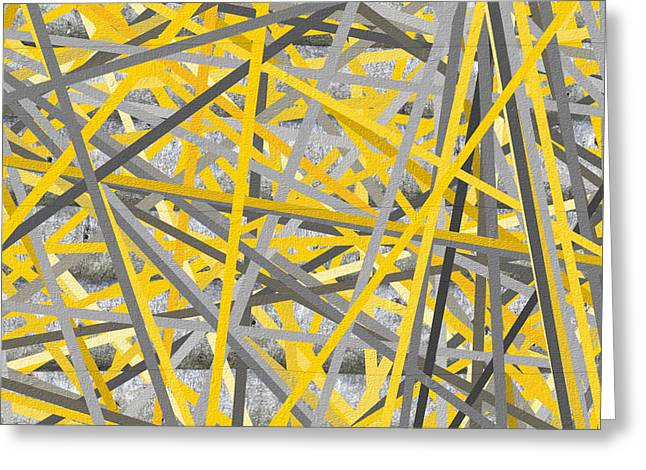 Yellow And Gray Abstract Greeting Cards - Connection - Yellow And Gray Wall Art Greeting Card by Lourry Legarde