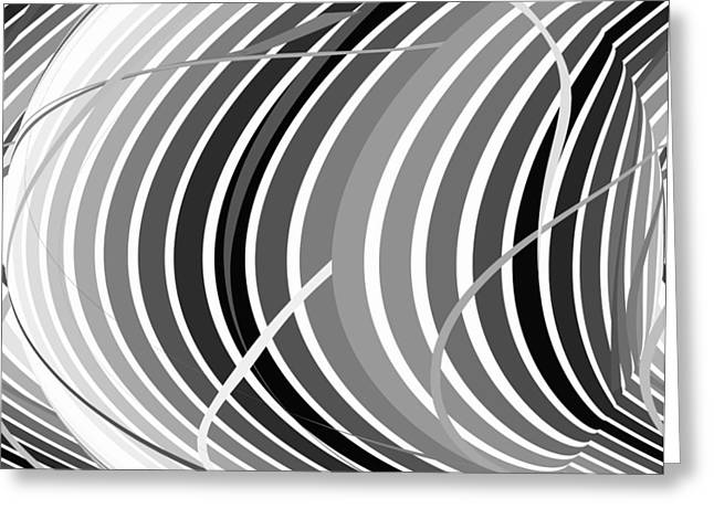 Swirls And Stripes Greeting Cards - Connections Black and White Greeting Card by Mary Bedy
