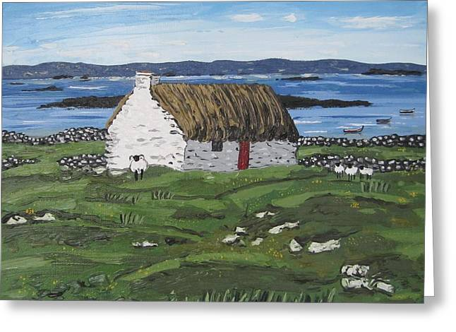 Seacape Paintings Greeting Cards - Connemara Thatched Cottage with Sheep Ireland Greeting Card by Diana Shephard