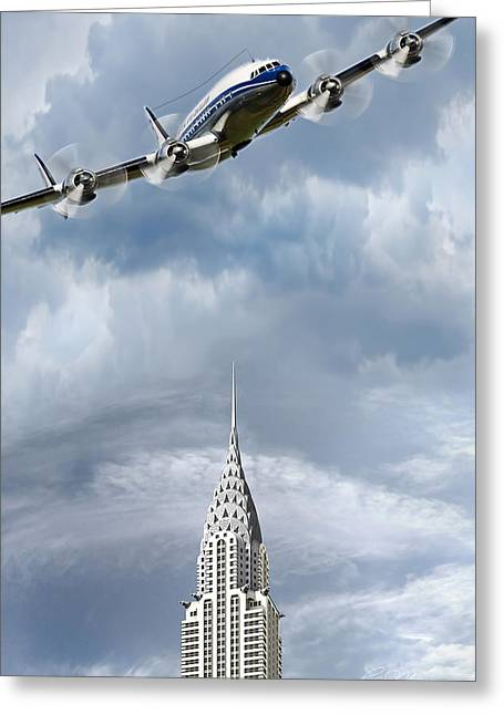Airliner Greeting Cards - Connie and the Chrysler Greeting Card by Peter Chilelli