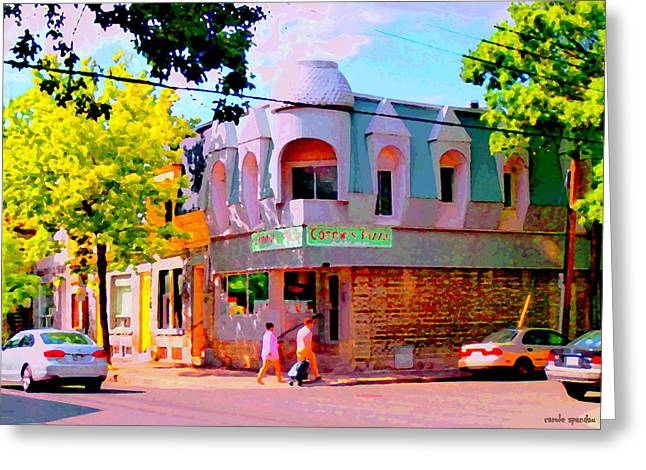Verdun Pizza Greeting Cards - Connies Pizza Beautiful Streets Of Pointe St Charles Urban Art Montreal City Scenes Carole Spandau Greeting Card by Carole Spandau