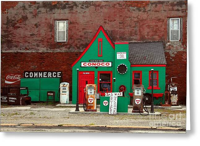 Brick Buildings Greeting Cards - Conoco Station On Route 66 Greeting Card by Mel Steinhauer