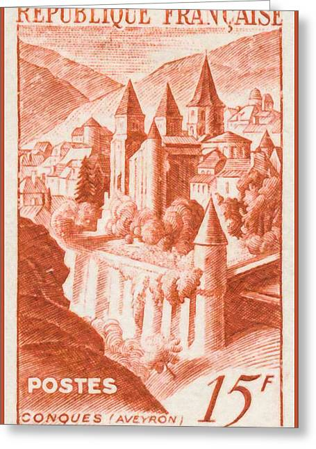 """france Poster"" Greeting Cards - Conques Stamp Greeting Card by Lanjee Chee"