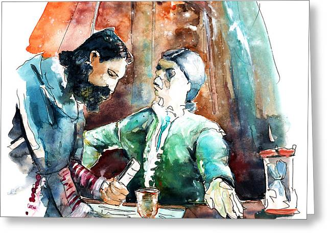 Travel Sketch Drawings Greeting Cards - Conquistadores on The Boat in Vila do Conde in Portugal Greeting Card by Miki De Goodaboom