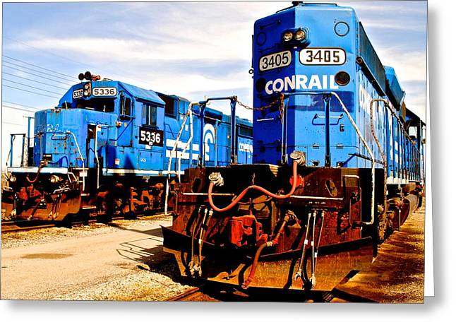 Caboose Greeting Cards - Conrail Choo Choo  Greeting Card by Frozen in Time Fine Art Photography