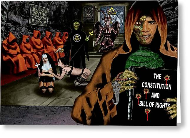 Obama Mixed Media Greeting Cards - Congress Meeting Greeting Card by Rezz