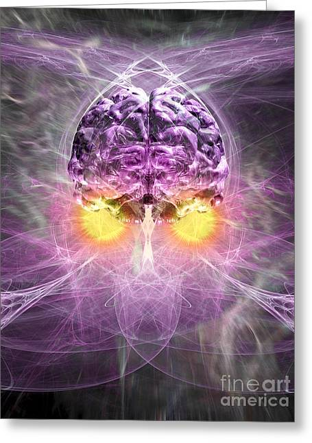 Conscious Digital Art Greeting Cards - Consciousness 1 Greeting Card by Russell Kightley
