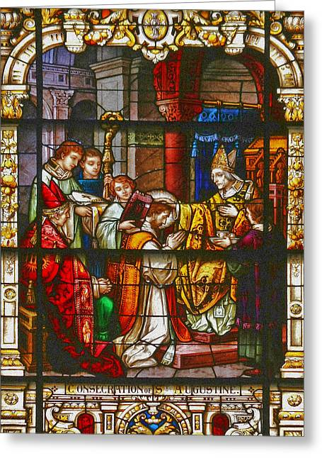 Window Panes Greeting Cards - Consecration of St Augustine Stained Glass Window Greeting Card by Christine Till