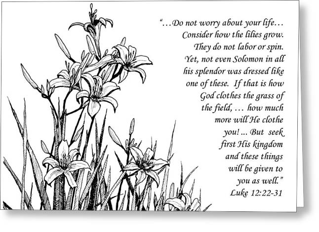 Scripture Drawings Greeting Cards - Consider how the Lilies Grow Greeting Card by Janet King