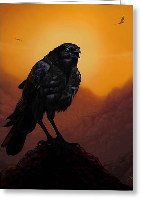 Wacom Tablet Greeting Cards - Consider The Ravens Greeting Card by Jephyr Art