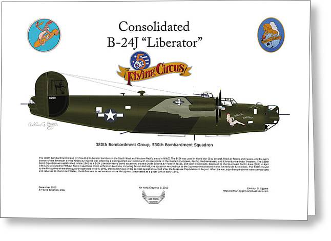 Circus Graphics Greeting Cards - Consoldated B-24J Liberator Greeting Card by Arthur Eggers