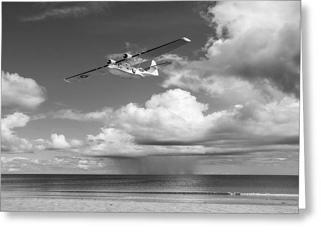 Pby Catalina Greeting Cards - Consolidated PBY Catalina black and white version Greeting Card by Gary Eason