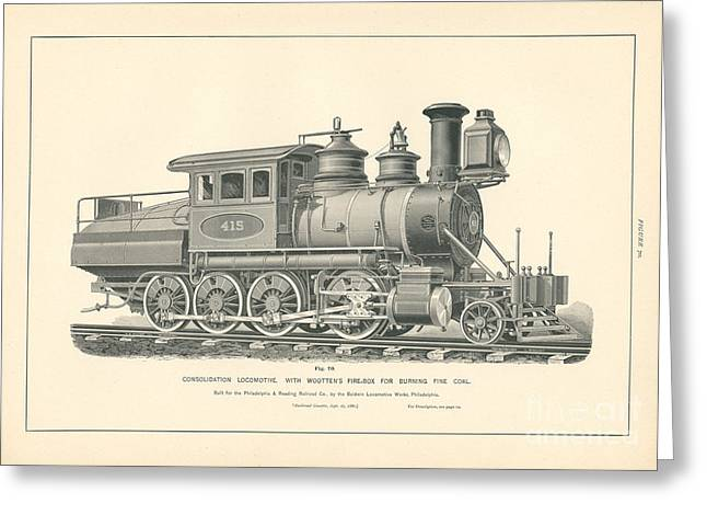 Consolidation Locomotive With Wootten's Fire Box Fig. 70 Greeting Card by MMG Archive Prints