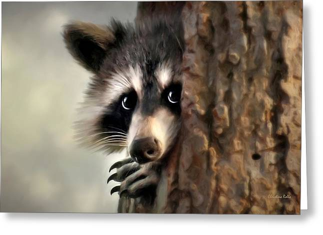 Raccoon Digital Art Greeting Cards - Conspicuous Bandit Greeting Card by Christina Rollo