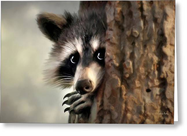 Whimsical. Greeting Cards - Conspicuous Bandit Greeting Card by Christina Rollo