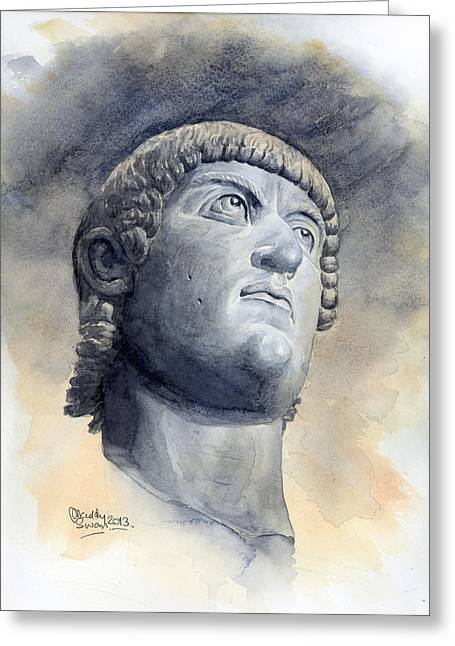 Statue Portrait Paintings Greeting Cards - Constantine Bronze Head Greeting Card by Maddy Swan