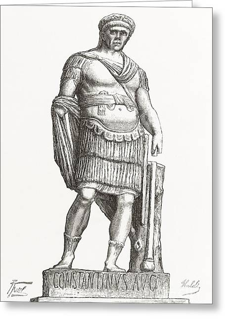 Statue Portrait Greeting Cards - Constantine I, Roman Emperor Greeting Card by Middle Temple Library