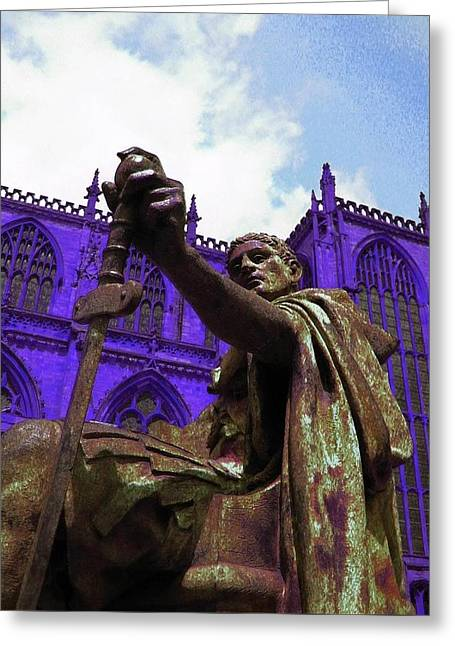 Icon Sculptures Greeting Cards - Constantine The Emperor At Yorkminster Greeting Card by ARTography by Pamela  Smale Williams