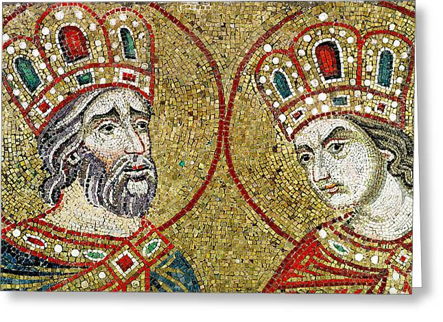 Byzantine Greeting Cards - Constantine The Great 270-337 And St. Helena Mosaic Greeting Card by Veneto-Byzantine School