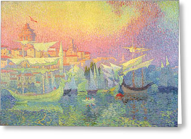 Docked Sailboats Greeting Cards - Constantinople Greeting Card by Henri Person
