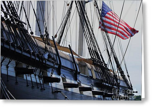 Masts Greeting Cards - Constellation Broadside Greeting Card by Marcus Dagan