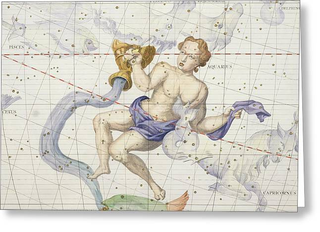 Astronomy Drawings Greeting Cards - Constellation of Aquarius Greeting Card by Sir James Thornhill