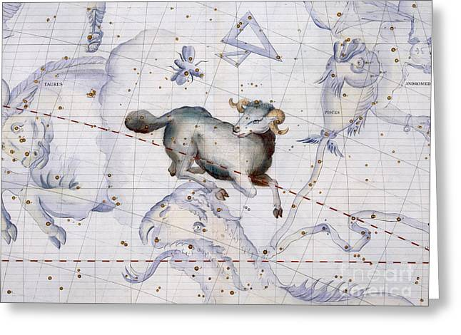 Astronomy Drawings Greeting Cards - Constellation of Aries Greeting Card by Sir James Thornhill