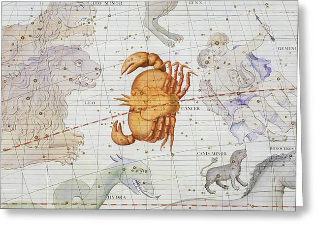 Monoceros Greeting Cards - Constellation of Cancer Greeting Card by Sir James Thornhill