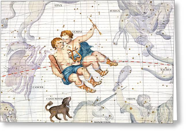 Monoceros Greeting Cards - Constellation of Gemini with Canis Minor Greeting Card by Sir James Thornhill