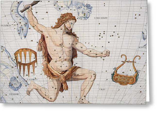 Knelt Drawings Greeting Cards - Constellation of Hercules with Corona and Lyra Greeting Card by Sir James Thornhill