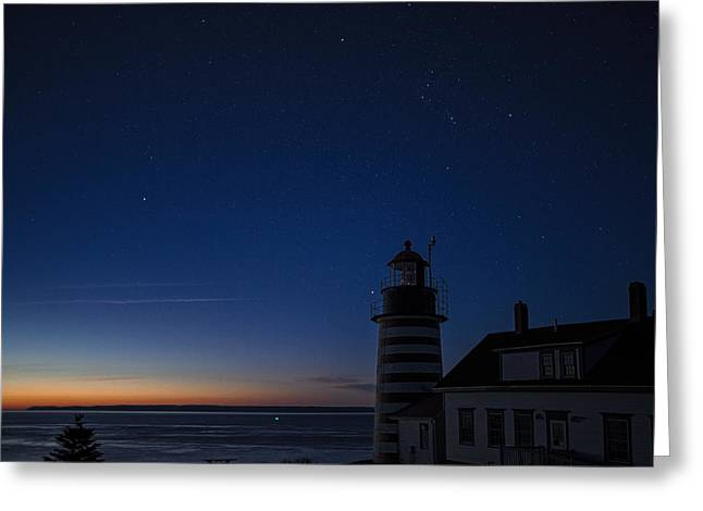 Maine Lighthouses Greeting Cards - Constellation Orion At West Quoddy Head Lighthouse Greeting Card by Marty Saccone