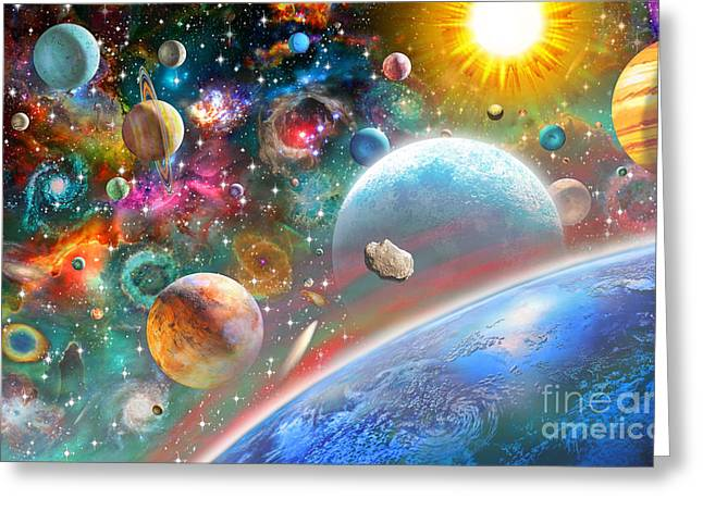 Intergalactic Greeting Cards - Constellations and Planets Greeting Card by Adrian Chesterman