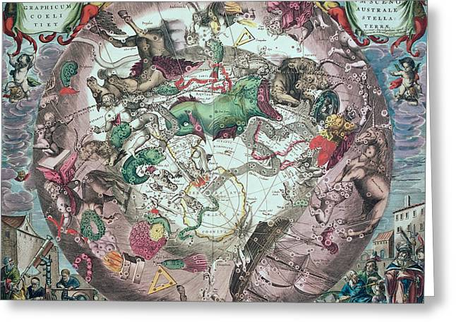 Astronomers Greeting Cards - Constellations Of The Southern Hemisphere, From The Celestial Atlas, Or The Harmony Of The Universe Greeting Card by Andreas Cellarius