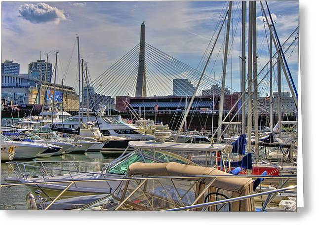 Td Garden Greeting Cards - Constitution Marina and the Zakim Greeting Card by Joann Vitali