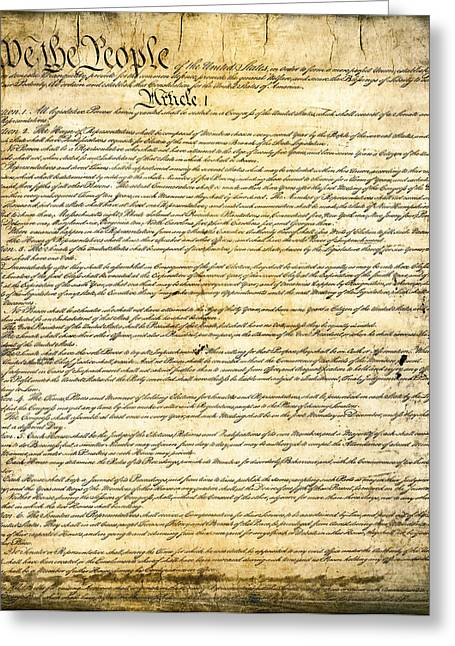 U S Founding Father Greeting Cards - CONSTITUTION of the UNITED STATES Greeting Card by Daniel Hagerman