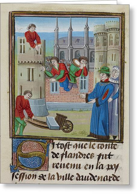 Constructing A Castle At Oudenarde Greeting Card by British Library