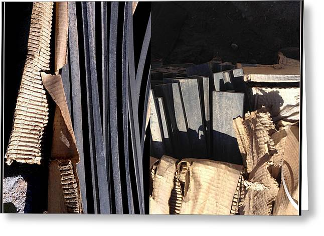 Corrugated Cardboard Greeting Cards - Construction Construction Greeting Card by Marlene Burns