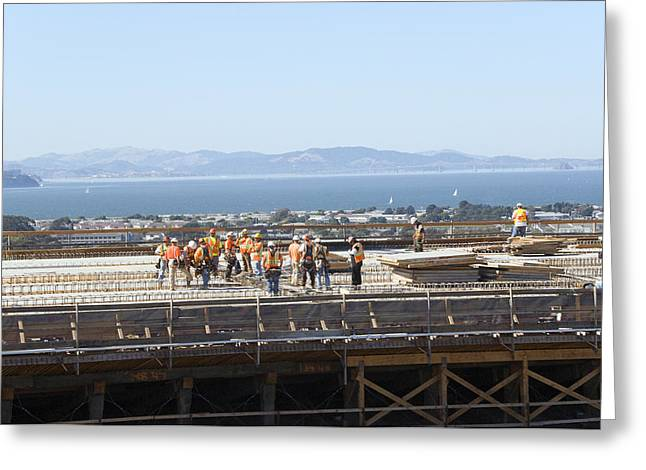 """""""work Crew"""" Greeting Cards - Construction Continues On The Last Few Feet Of The New Oakland Bay Bridge Greeting Card by Scott Lenhart"""