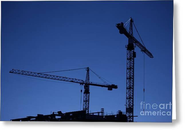 Frame House Greeting Cards - Construction Cranes At Dusk Greeting Card by Antony McAulay