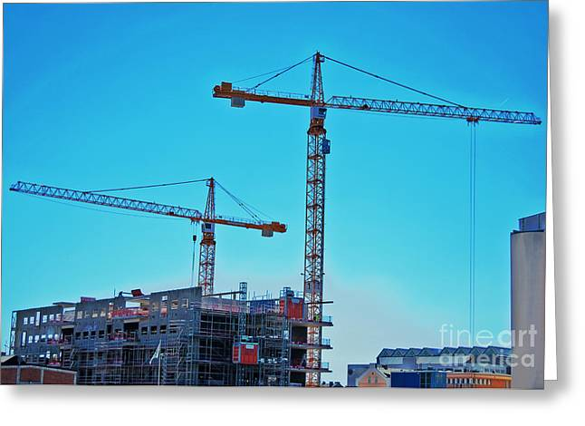 Frame House Greeting Cards - construction cranes HDR Greeting Card by Antony McAulay