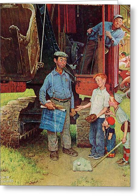Norman Drawings Greeting Cards - Construction Crew by Norman Rockwell Greeting Card by Nomad Art And  Design