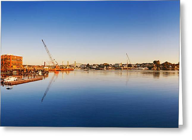 Prescott Greeting Cards - Construction equipment on the Piscataqua River Greeting Card by Jo Ann Snover