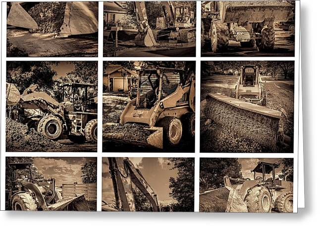 Dirt Pile Greeting Cards - Construction collage-2 Greeting Card by Rudy Umans