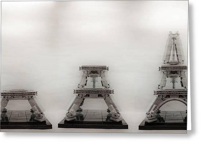 Lego Greeting Cards - Construction of Lego Eiffel Tower Greeting Card by Natasha Bishop