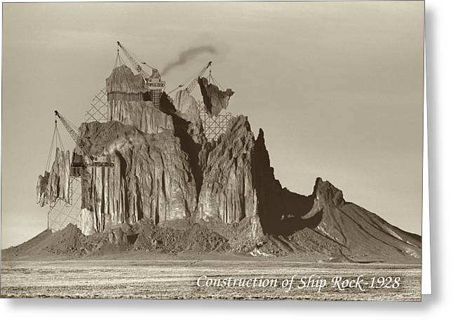 Historic Ship Greeting Cards - Construction of Ship Rock - 1928 Greeting Card by Jerry McElroy