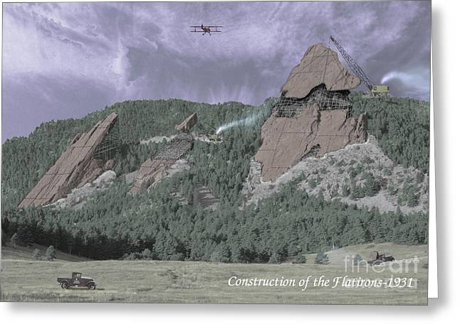 Spoof Greeting Cards - Construction of the Flatirons - 1931 Greeting Card by Jerry McElroy