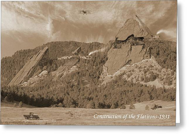 Boulder - Rock Greeting Cards - Construction of the Flatirons - 1931 - Sepia Greeting Card by Jerry McElroy