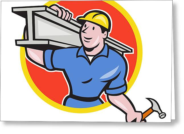 Construction Workers Greeting Cards - Construction Steel Worker Carry I-Beam Circle Cartoon Greeting Card by Aloysius Patrimonio